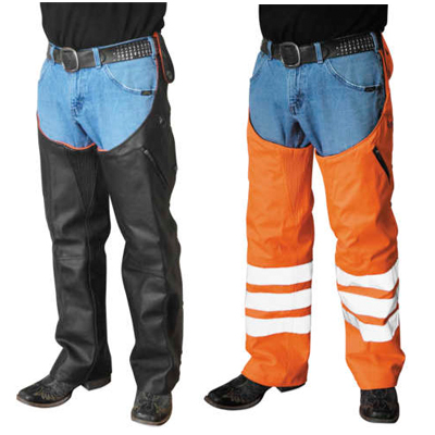 Reversible Leather and Hi-Vis Orange Hook Chaps