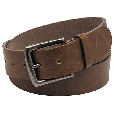 BROWN BELT WITH ANTIQUE NICKEL BUCKLE