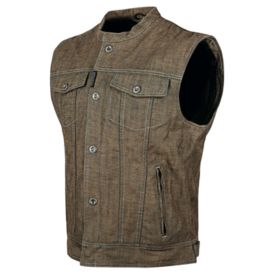 SOUL SHAKER DENIM VEST BROWN