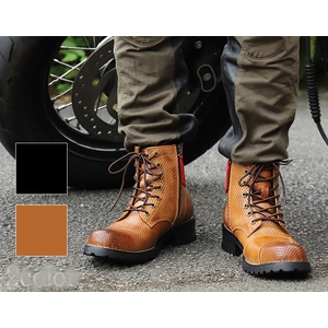 DEGNER シフトガード付レザーメッシュレザーブーツ/MESH LEATHER ZIP BOOTS WITH SHIFT GUARD [HS-B11M]