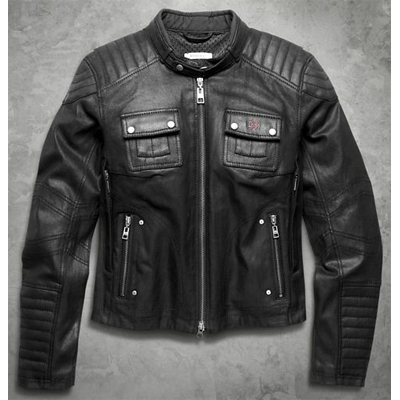 Quilted Coated Denim Riding Jacket
