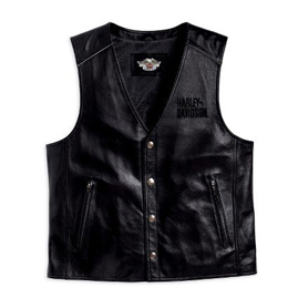 Reflective Bar & Shield Logo Leather Vest