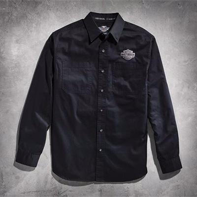 Men's Black Long Sleeve Logo Woven Shirt