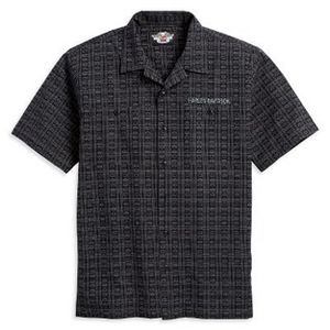 Short-Sleeve Woven with Jacquard Bar&Shield Logo