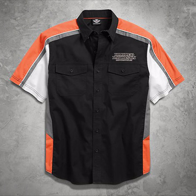 Men's Performance Vented Pinstripe Flames Shirt